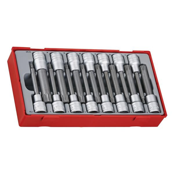 15Pc 1/2In Dr. 100Mm Ril/Spl Bits Socket Set | Tool Tray Sets - 1/2 Inch Drive