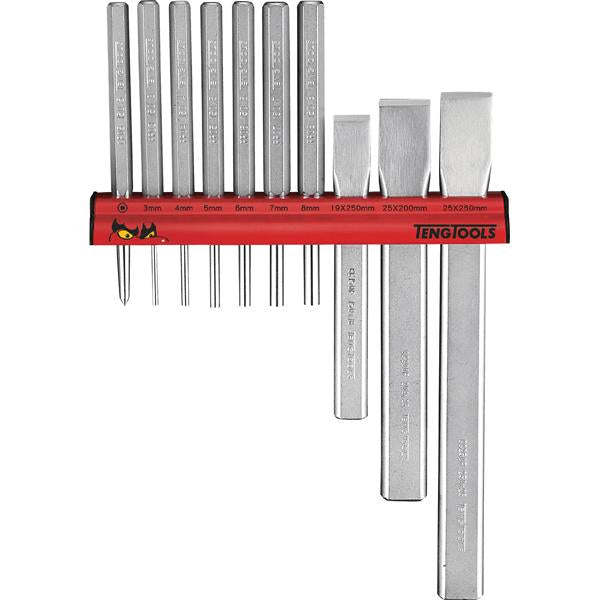 Teng 10Pc Punch & Chisel Set W/ Wall Rack | Service Tools - Sets-Hand Tools-Tool Factory