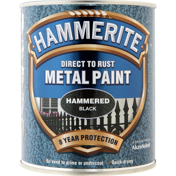 Hammerite Direct to Rust Metal Paint Hammered Black 750ml-Metal Protection & Paint-Tool Factory