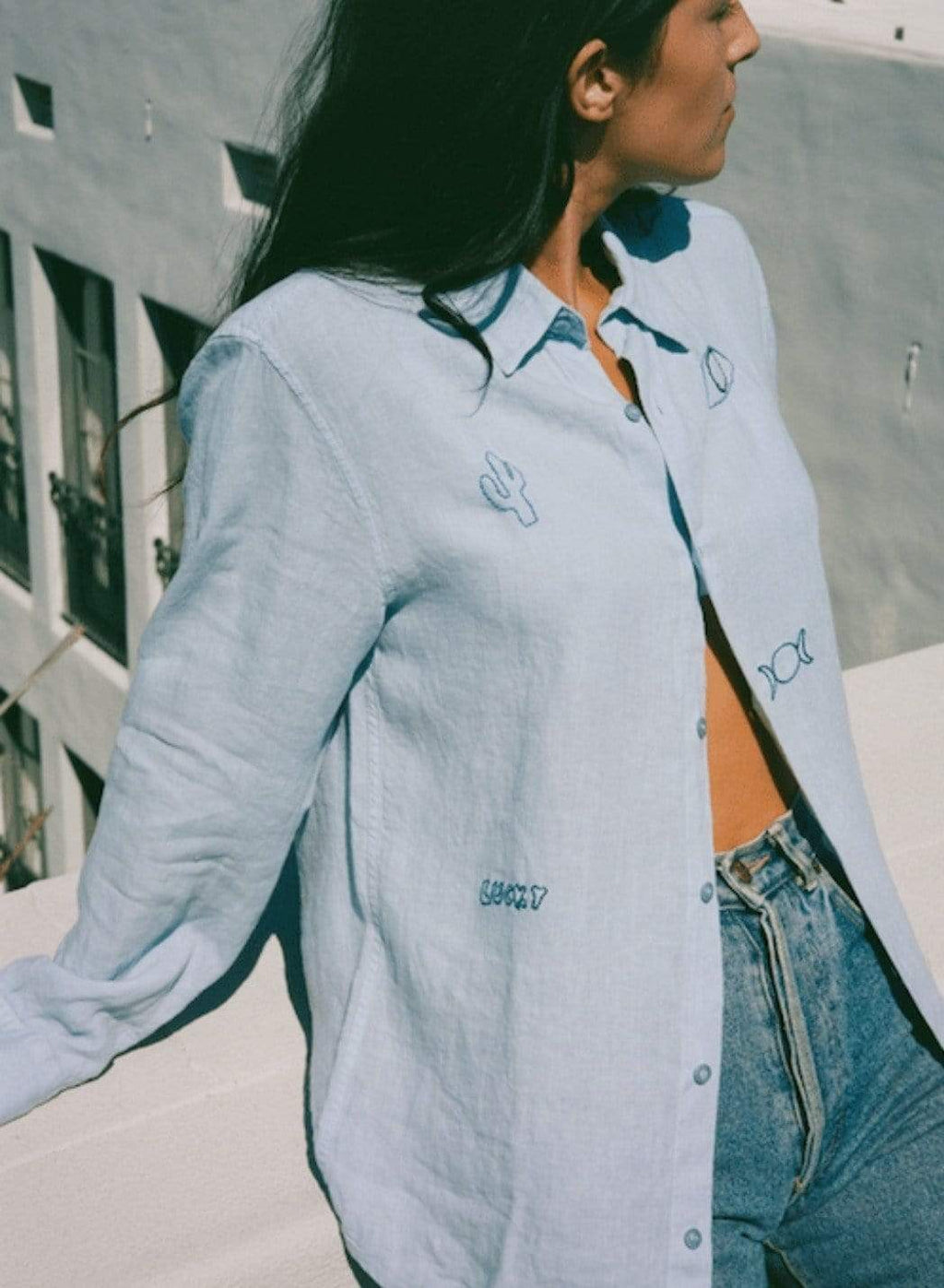 Modern Society Lucky Linen Shirt in Sky Shirts