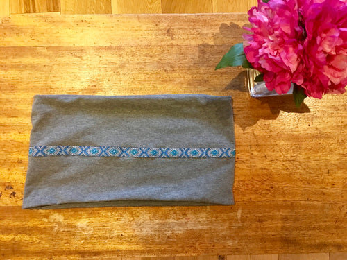 Grey jersey infinity scarf with blue and white trim