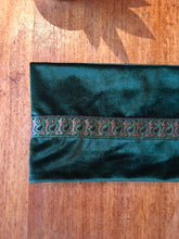Green velvet infinity scarf with paisley trim