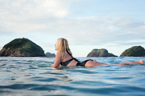 swimwear for surfing made from recycled fibres tested by surfbunker in Taranaki New Zealand - photo by Julia Ochs