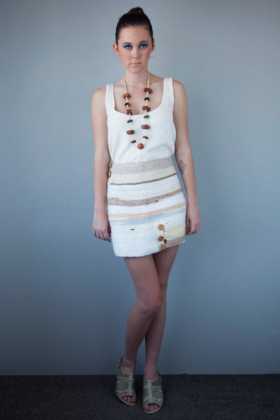 pencil skirt - cream colors - made of french knitted recycle wool scraps and hand turned buttons