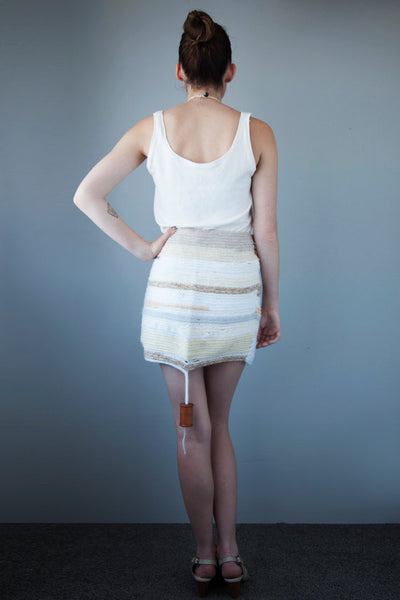 made of french knitted recycle wool scraps and hand turned buttons - pencil skirt - cream