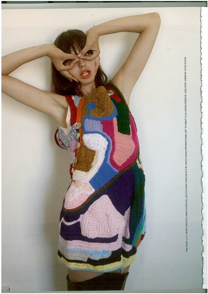 party dress, multi colored, french knitted recycled wool scraps. Image from NO Magazine NZ
