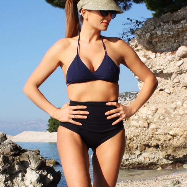 zero waste bikini top w cross over front - navy blue - made in Italy for surfing