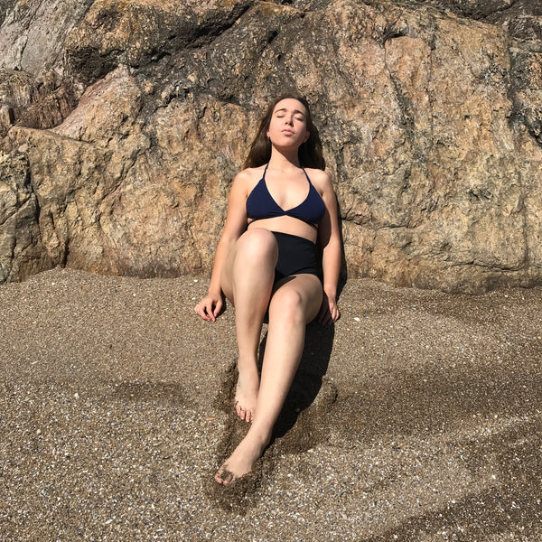 zero waste bikini top - sustainable swimwear - recycled fishing nets - made in italy - photo islowly in uruguay A B C D CUP