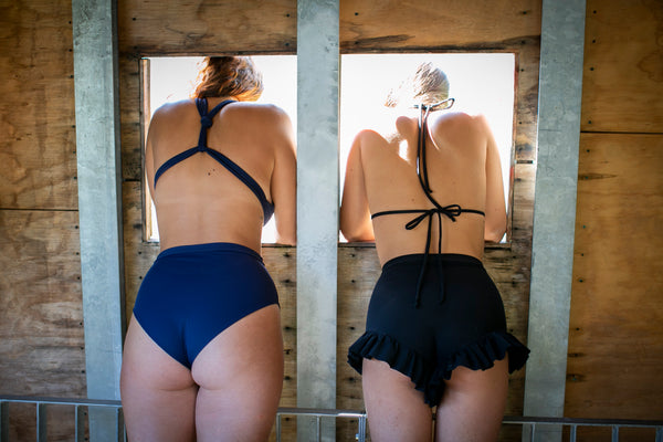 sustainable zero waste slow fashion high waisted bikini bottoms made in italy from recycled fibers