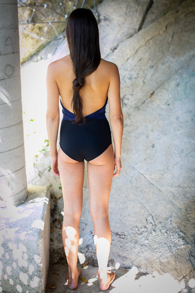 eco swimsuit low cut front and back zero waste fashion made from recycled nylon