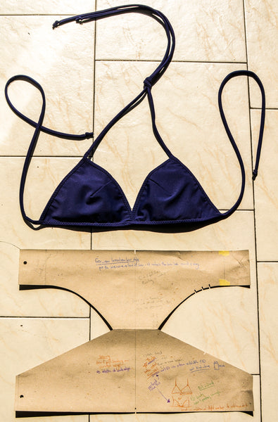 zero waste pattern cut for simple triangle bikini swimwear by emroce made in italy designed for surfing