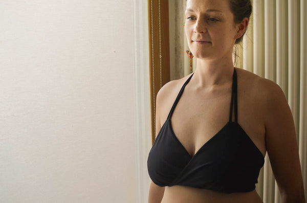 zero waste bikini top - DD cup - XL - designed for breastfeeding as one side can be let down at a time