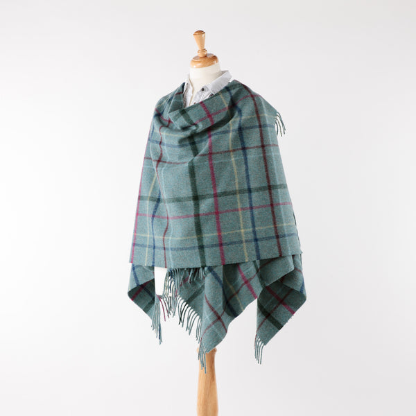 Aqua  blue check lambswool ruana/wrap