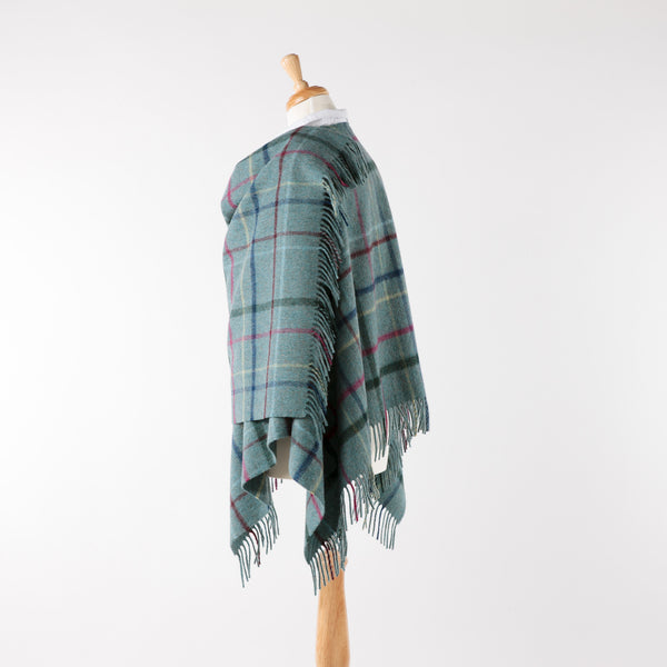 Aqua check lambswool ruana/wrap
