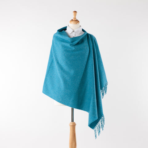 bright blue fringed merino lambswool poncho