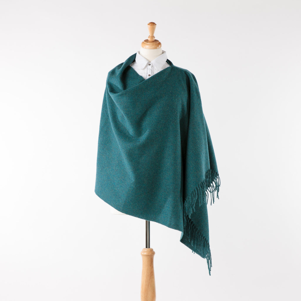 Soft merino lambswool teal blue fringed poncho