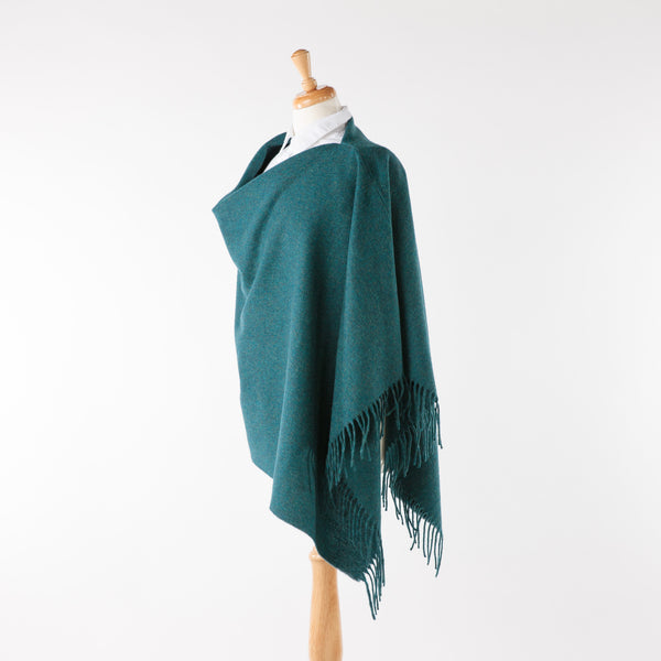Teal Blue Fringed Poncho