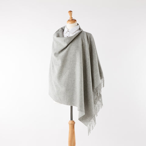 Soft merino lambswool silver grey fringed poncho