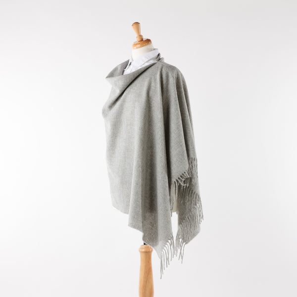 Silver Grey Merino Lambswool Fringed Poncho