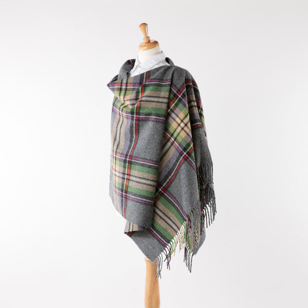 Soft merino lambswool grey/heather coloured fringed poncho