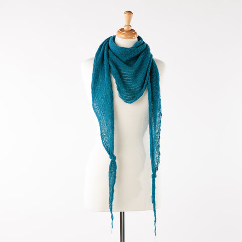 Denim blue soft lambswool bandanna scarf