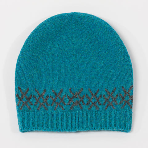 Teal Blue Merino Lambswool Beanie Hat
