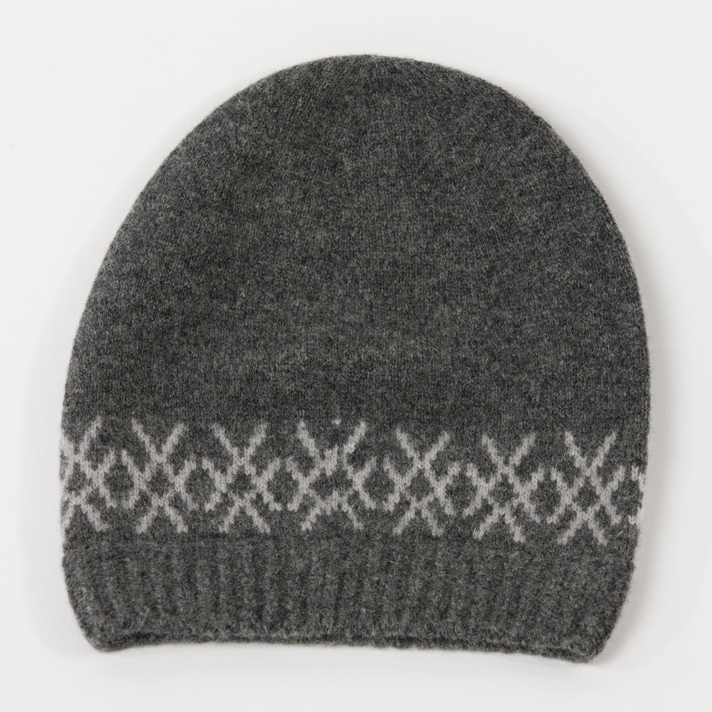 grey merino wool beanie hat