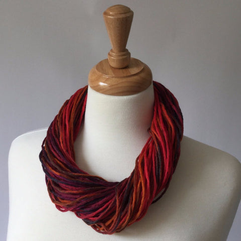 Merino Wool Twist Necklace - Firework colours red pink and orange