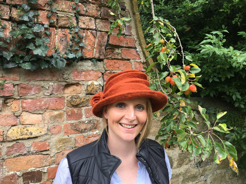 felted hat - orange
