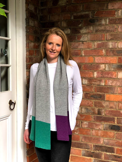 merino lambswool 3 block coloured scarf grey, green and purple