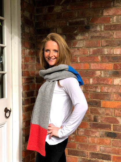 Unisex Merino Lambswool 3 Colour Block  Scarf - grey, orange and dragonfire blue