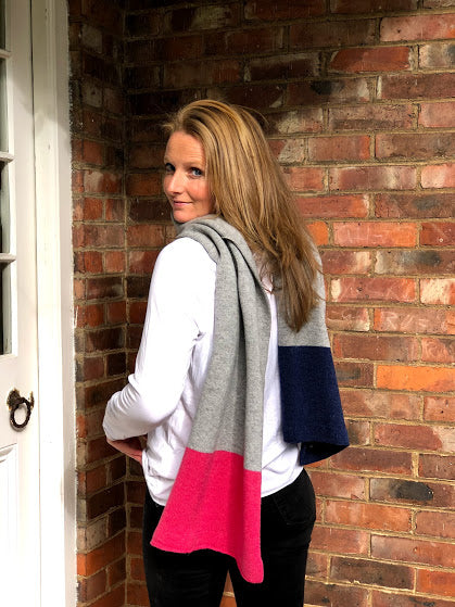 Merino lambswool scarf in 3 block colours grey, navy and pink