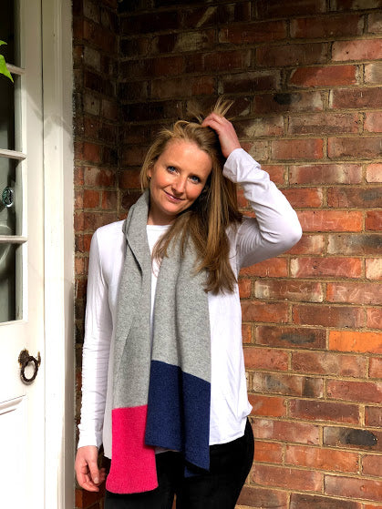 MMerino lambswool scarf in 3 block colours grey, navy blue and pink