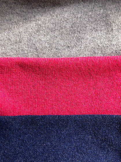Unisex Merino Lambswool 3 Colour Block Scarf - grey, navy and pink