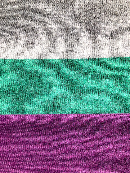 Unisex Merino Lambswool 3 Colour block Scarf - Purple & Green