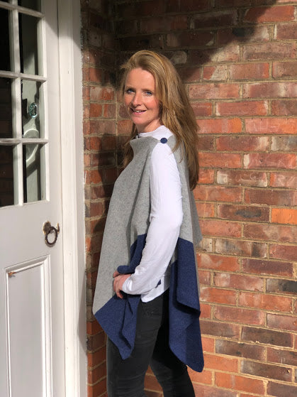 merino lambswool pale grey with navy border poncho/wrap