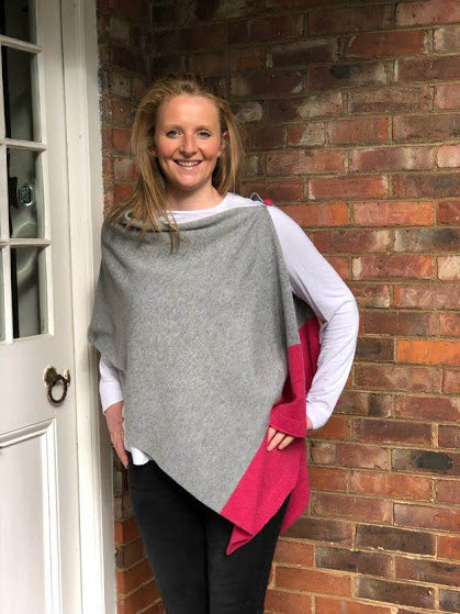 merino lambswool pale grey with pink poncho/wrap