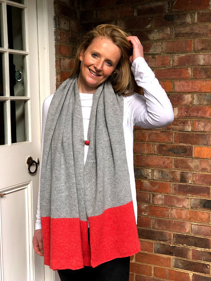 merino lambswool pale grey with orange border poncho/wrap