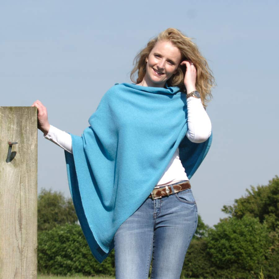 bright blue merino lambswool poncho