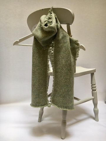 Fringed Scarf - Pale Green and Ash White