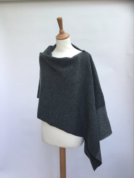 The Wool Booth's herringbone knitted poncho