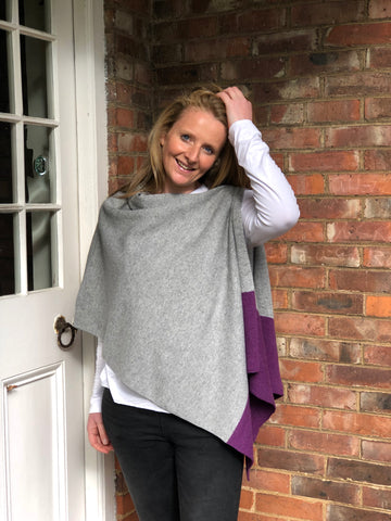 Versatile Merino Lambswool Poncho/Wrap with loop button - Lupin Purple