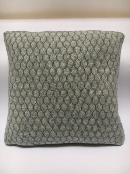 knitted merino lambswool cushion - honeycomb pattern