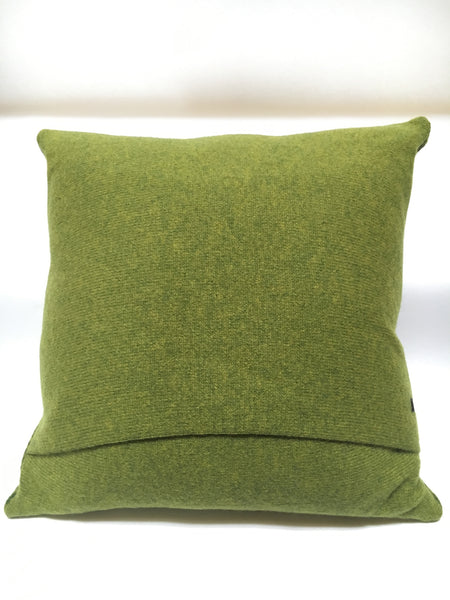 Green plain back of Knitted Merino Lambswool Cushion