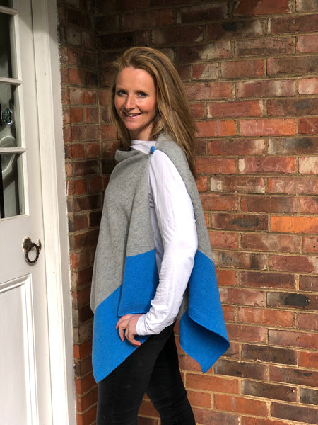 Versatile Merino Lambswool Poncho/Wrap with loop button - Dragonfire Blue