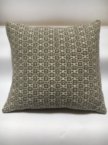 Knitted Merino Lambswool Cushion cube design of two tones of  silver grey and stone