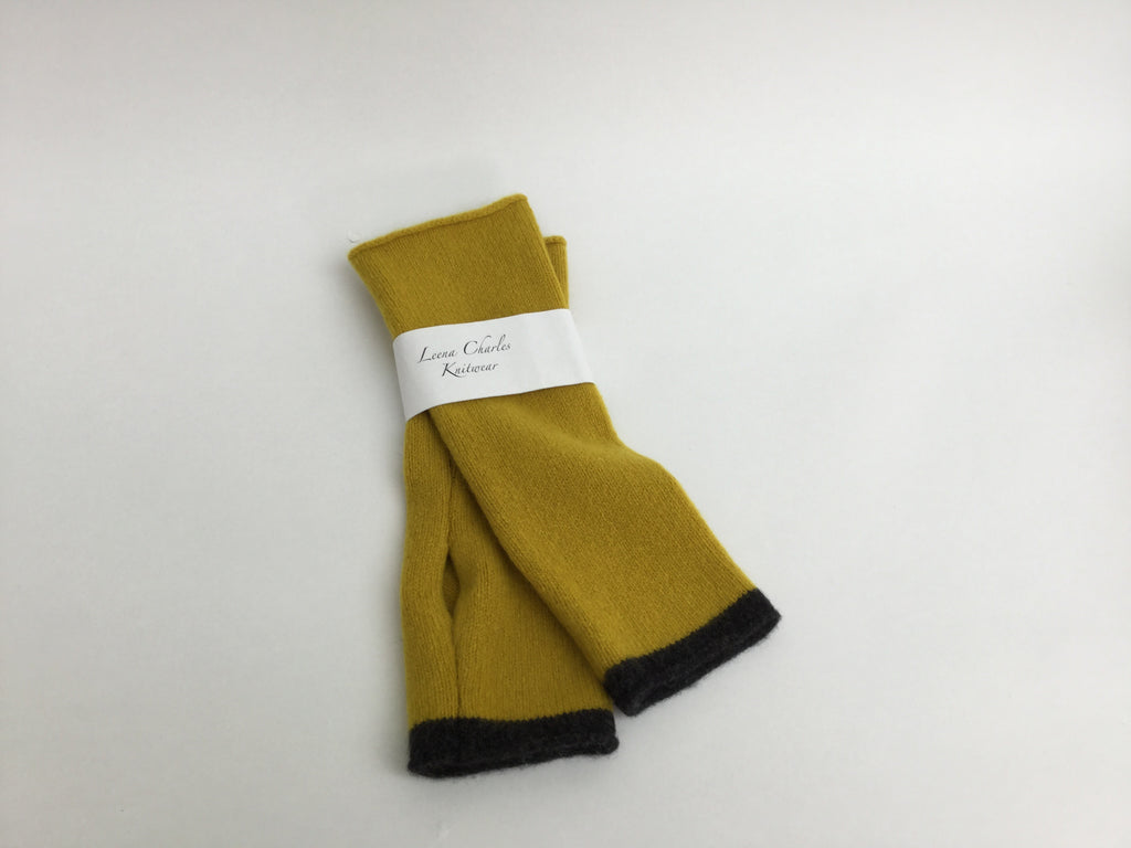 100% lambswool Mustard Coloured Wrist Warmers