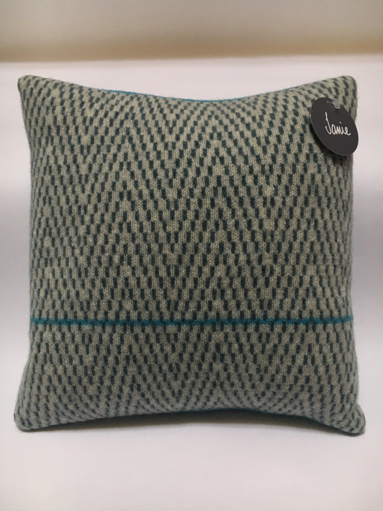 knitted merino lambswool cushion - herringbone pattern