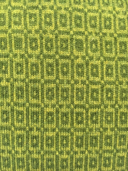 Knitted Merino Lambswool Cushion square tile design of two tones of green