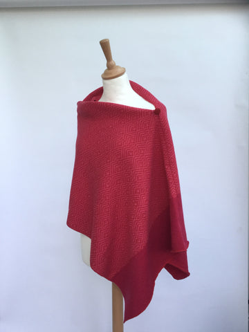Dual red and pink herringbone knitted poncho